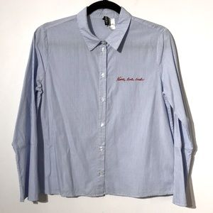 H&M embroidered striped buttons down shirt